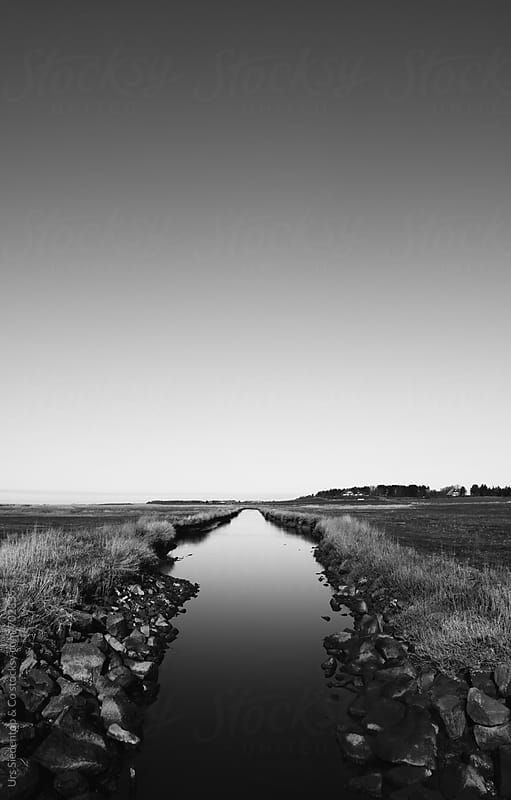 Black and white canal  panorama by Urs Siedentop & Co for Stocksy United