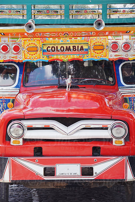 Colorful Colombian public bus in Santa Fe de Antioqia by Per Swantesson for Stocksy United