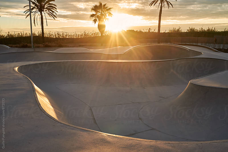 Skate park at sunrise by Guille Faingold for Stocksy United