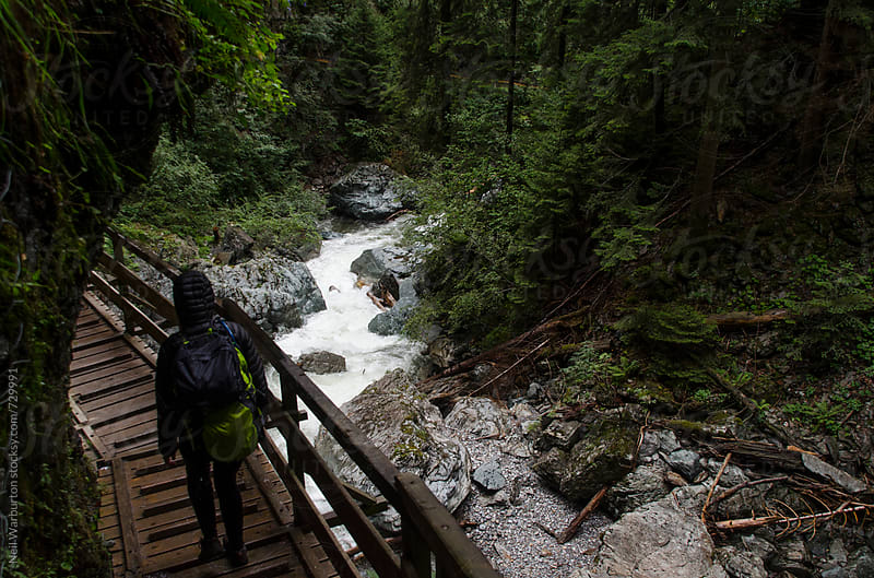 Person on wooden walkway in mountain gorge by Neil Warburton for Stocksy United