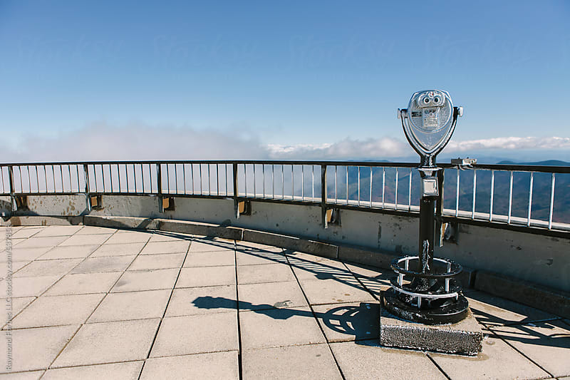 Binoculars at Summit of Mountain by Raymond Forbes LLC for Stocksy United