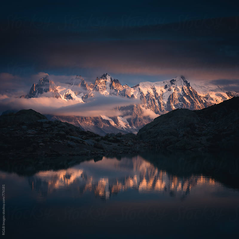 Landscape of the Alps reflecting in Lake Blanc by RG&B Images for Stocksy United