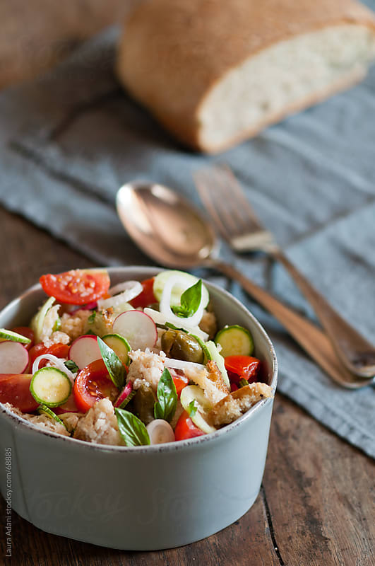 tuscan 'panzanella' or wet bread by Laura Adani for Stocksy United