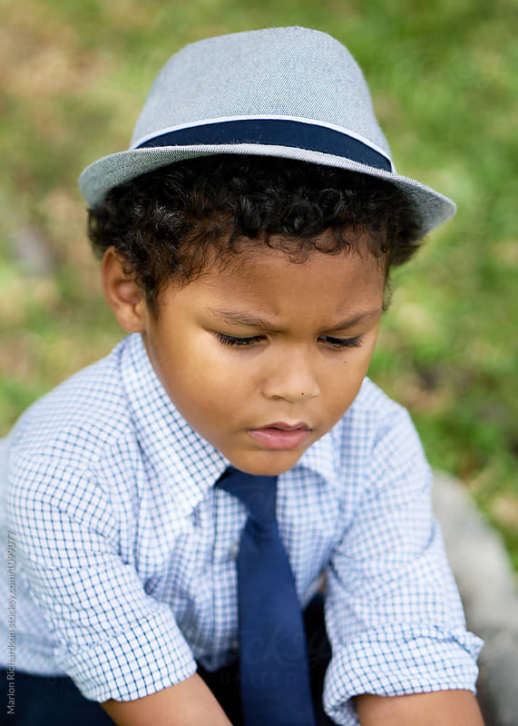 Cute Mixed Race Kid In A Hat by Marlon Richardson for Stocksy United