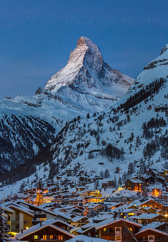 Zermatt with Matterhorn by Felix Hug for Stocksy United
