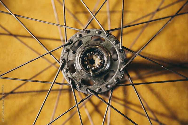 Closeup of bicycle hub showing spokes and bearings by Lior + Lone for Stocksy United
