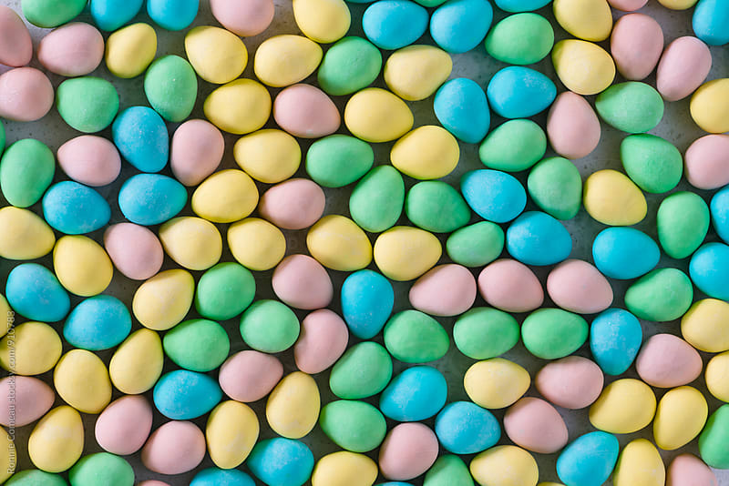 Pastel Easter Eggs From Above by Ronnie Comeau for Stocksy United