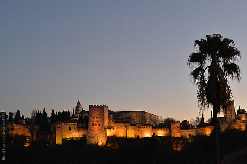 Views of Alhambra at night by Bisual Studio for Stocksy United