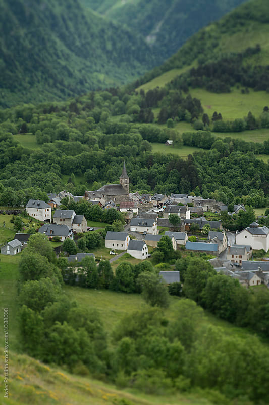 Aerial view of Azet, France by Javier Pardina for Stocksy United