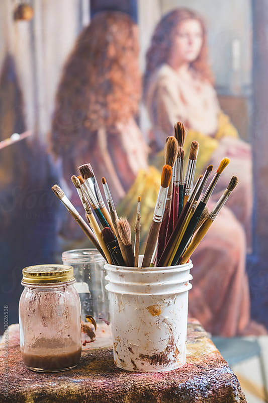 Many Paintbrushes and a Large Painting in an Artist's Atelier by Giorgio Magini for Stocksy United