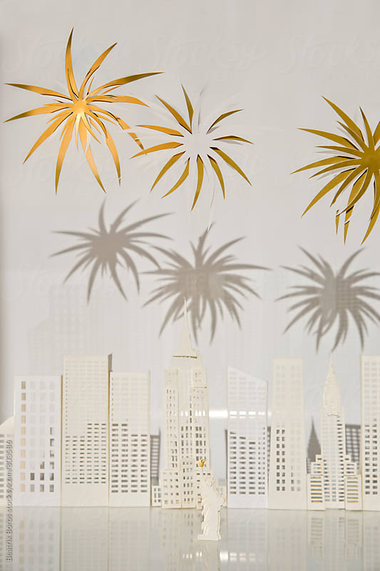 Harsh shadows on New York city cut out of paper by Beatrix Boros for Stocksy United