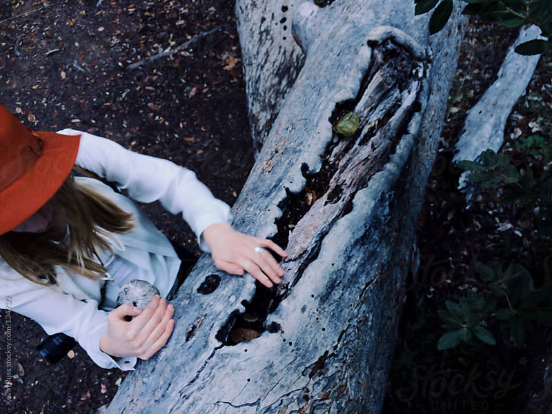 Woman Holding onto Fallen Tree Trunk by Kevin Russ for Stocksy United