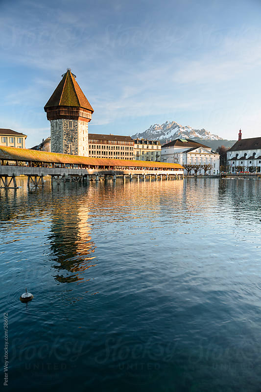 Chapel Bridge in Luzern with Pilatus by Peter Wey for Stocksy United