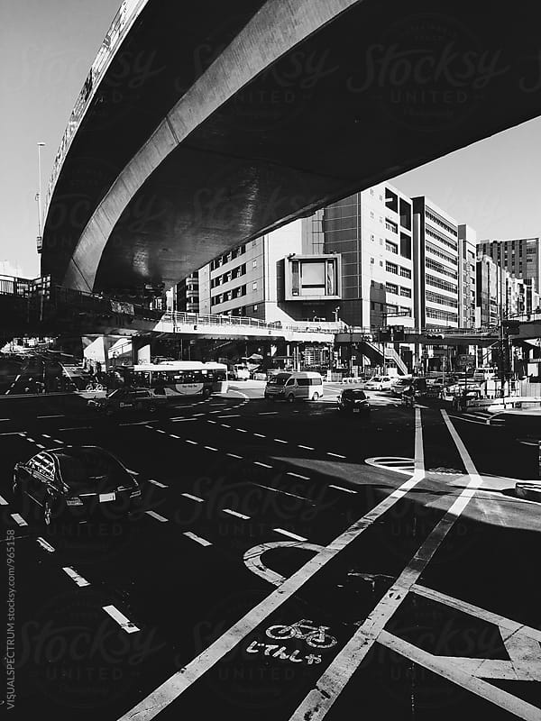 Tokyo Traffic - Busy Intersection in Black and White by Julien L. Balmer for Stocksy United