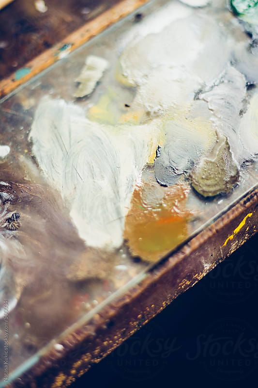 Oil paint palette by Natasa Kukic for Stocksy United