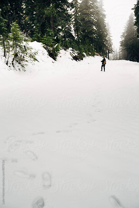 Tracks Leading To Man In Distance Standing In Snowy Forest by Luke Mattson for Stocksy United