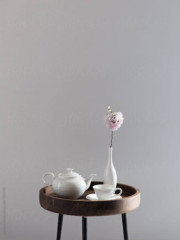 Tea time with Cherry Blossoms by Sophia Hsin for Stocksy United