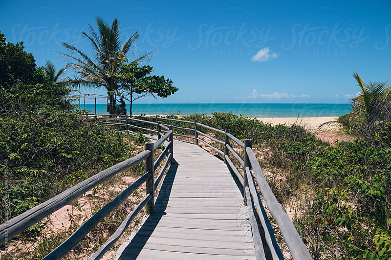 Wooden walkway leading to beautiful beach in Brazil by Emmanuel Hidalgo for Stocksy United