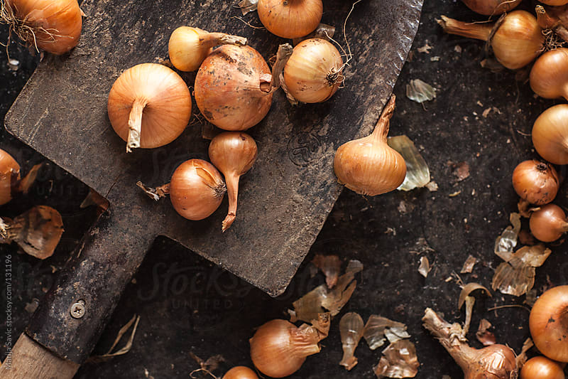 Fresh onions on the spade. by Marija Savic for Stocksy United