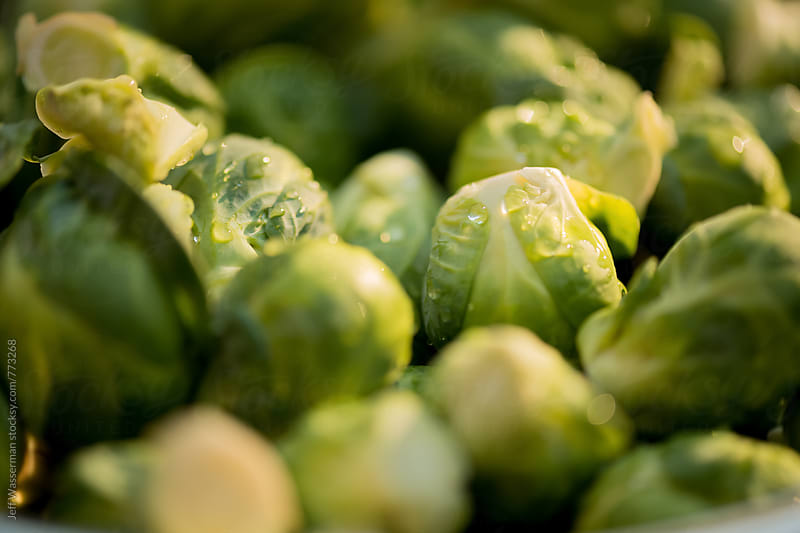 Brussel Sprouts in Colander Closeup by Jeff Wasserman for Stocksy United