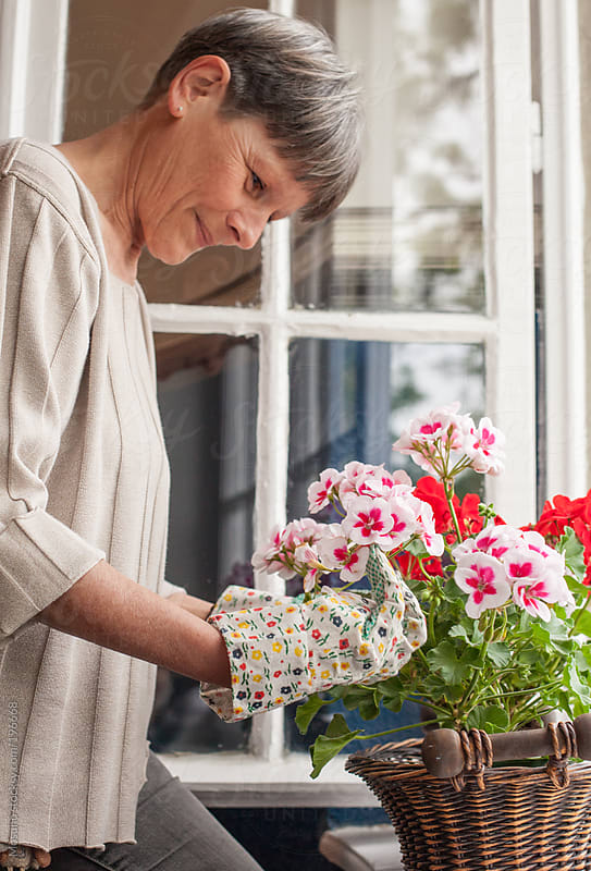 Senior Woman Organising Flowers at Home by Mosuno for Stocksy United