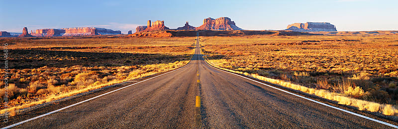 Empty Road, Highway 163, Monument Valley, Utah, United States of America by Gavin Hellier for Stocksy United