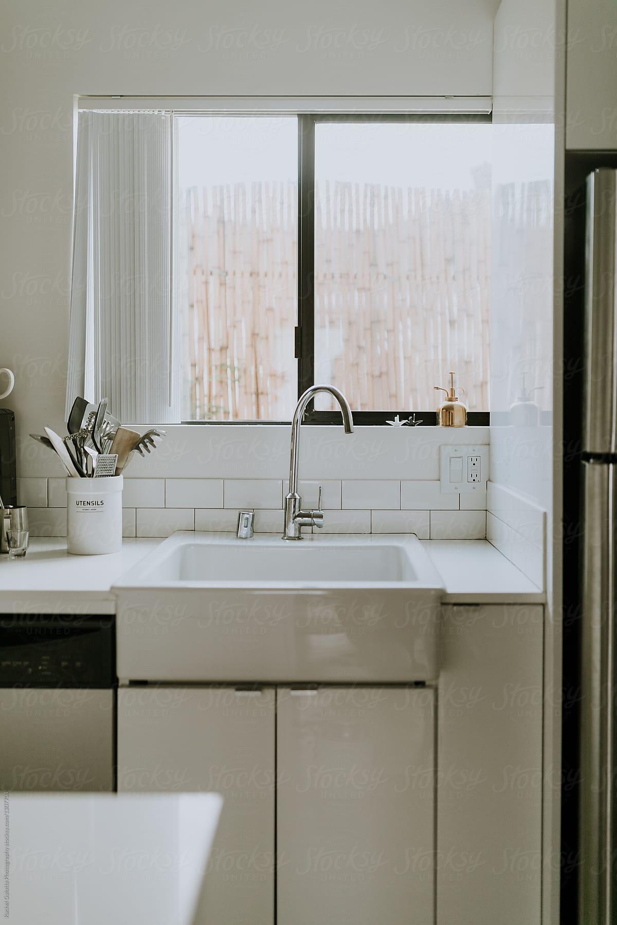 Farm Sink In A White Kitchen By Mango Street Lab
