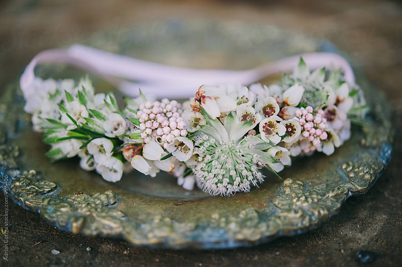 Bohemian flower crown, Bride's flower wreath by Adrian Cotiga for Stocksy United