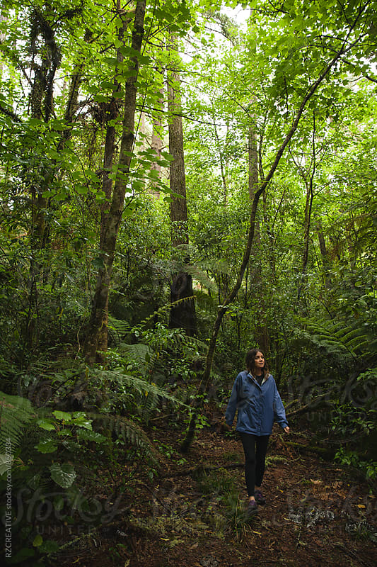 Woman wearing a rain jacket walking a trail in the forest. by RZ CREATIVE for Stocksy United
