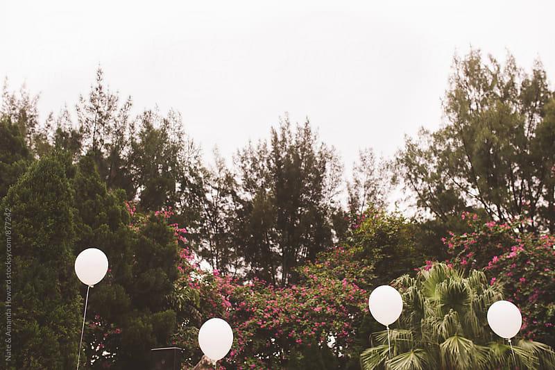 white balloons by Nate & Amanda Howard for Stocksy United
