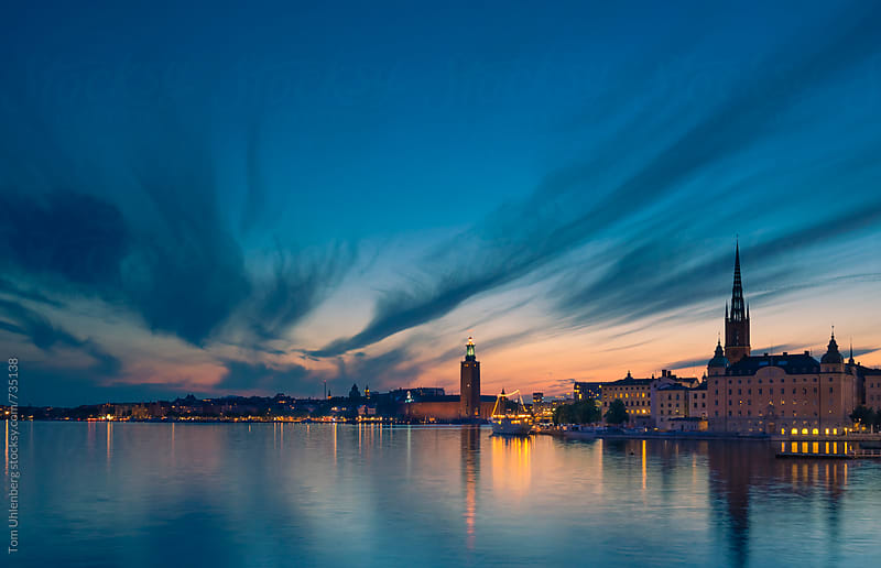 Stockholm, Sweden - Evening Skyline with the City Hall (Stadshuset) and the Riddarholm Church by Tom Uhlenberg for Stocksy United