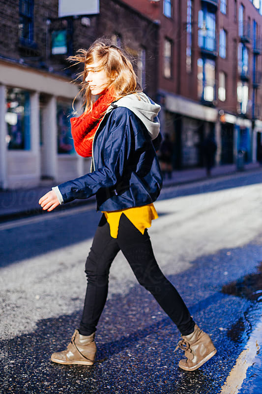 Young Blonde Woman Crossing the Street  by HEX. for Stocksy United