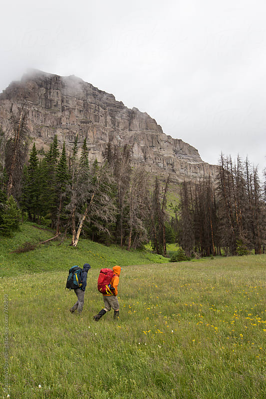 Hikers walking in mountains and meadow by Matthew Spaulding for Stocksy United