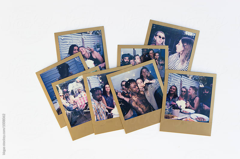 A collecton of polaroids of a backyard party by kkgas for Stocksy United