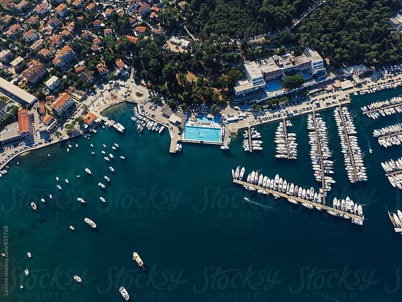 Aerial View of a Coastal Town in the Mediterranean by Lumina for Stocksy United