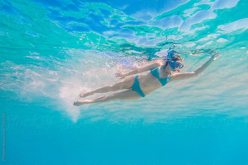 Woman Snorkeling Underwater at All Inclusive Caribbean Resort White Sand Beach by JP Danko for Stocksy United