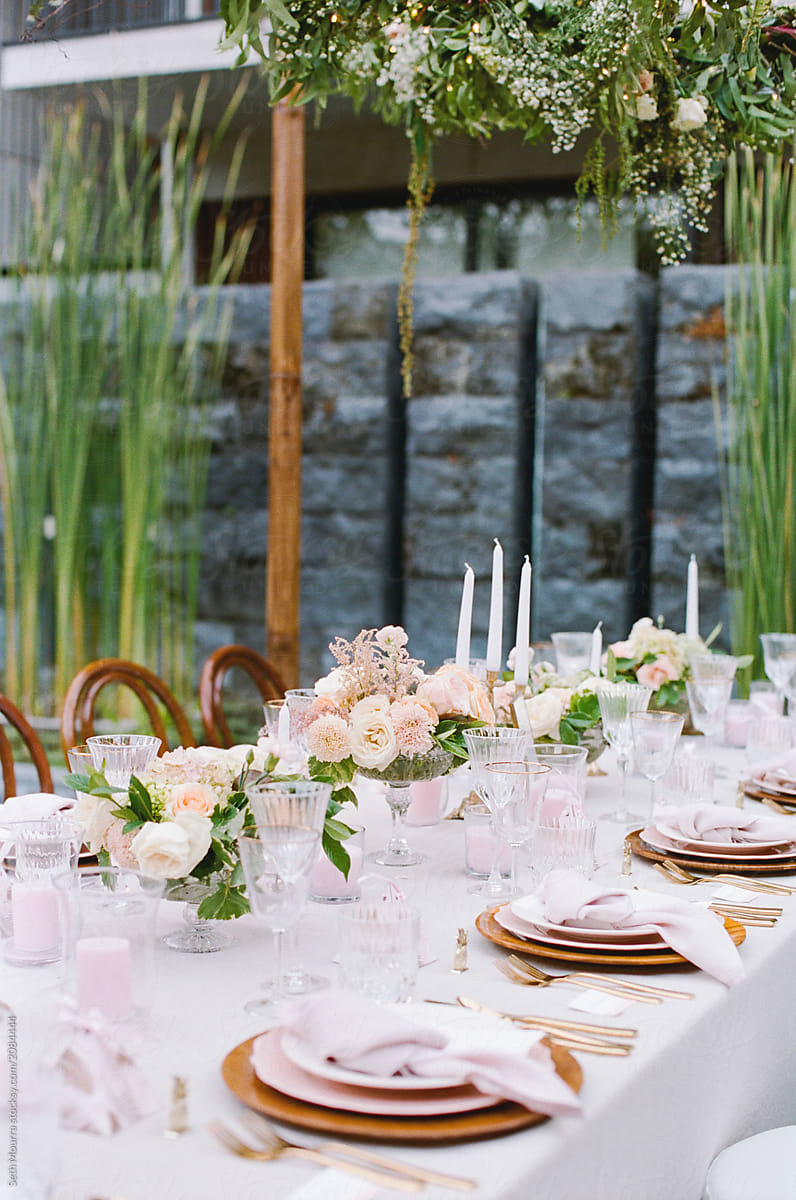 Elegant Outdoor Wedding Place Setting By Seth Mourra For Stocksy United