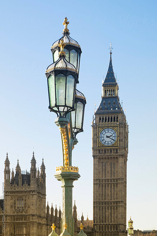 The Palace of Westminster and Big Ben clock tower, London by Craig Holmes for Stocksy United