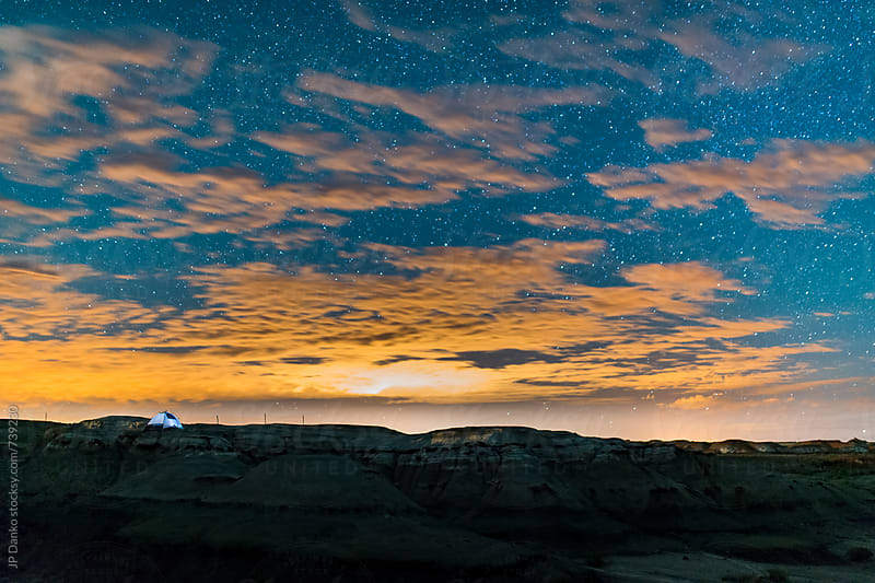 Moonlit Landscape Tent Camping in Bisti Badlands Bisti/De-Na-Zin New Mexico Tent  and Night Sky by JP Danko for Stocksy United
