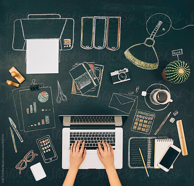 Office desktop by CACTUS Blai Baules for Stocksy United
