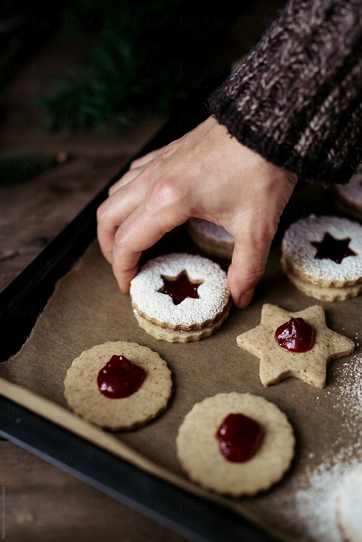 Making Christmas Linzer Cookies By Pixel Stories Christmas Cookie