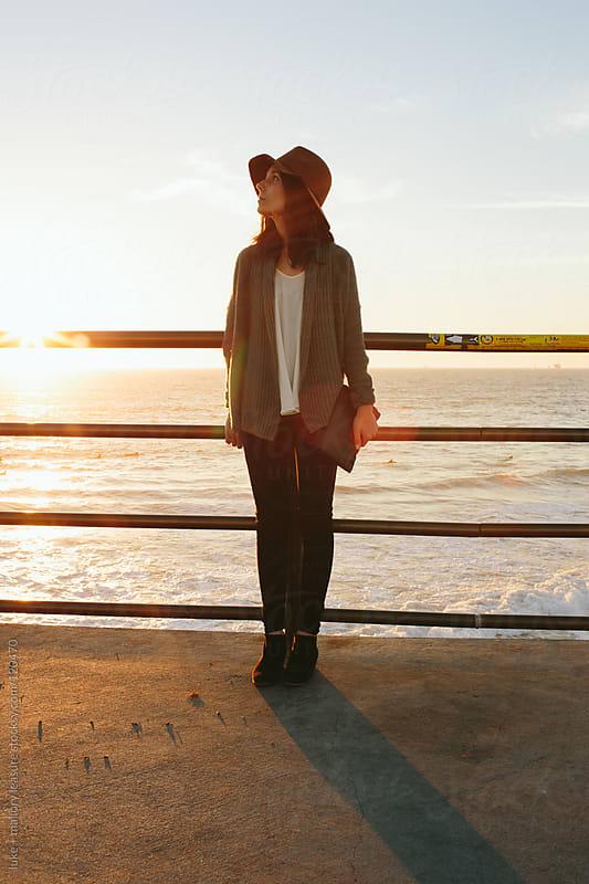 Girl on Pier by luke + mallory leasure for Stocksy United