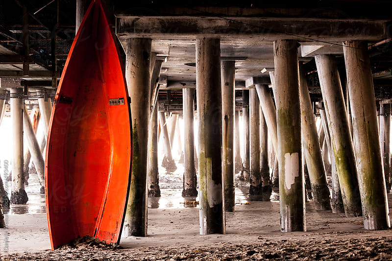 Boats under Santa Monica Pier by J Danielle Wehunt for Stocksy United