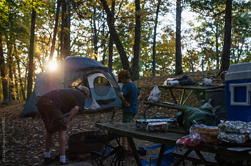 Father and Son Camping by Ali Deck for Stocksy United
