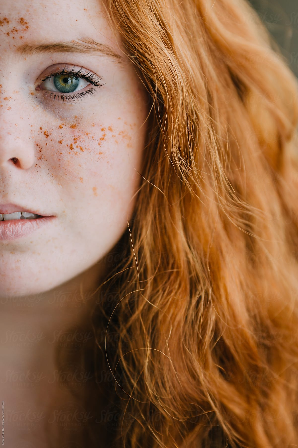 Close Up Of A Scottish Ginger-Haired Girl With Freckles -7547