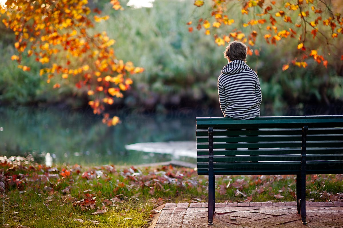 Boy Perched On A Park Bench In A Park In Autumn Stocksy United