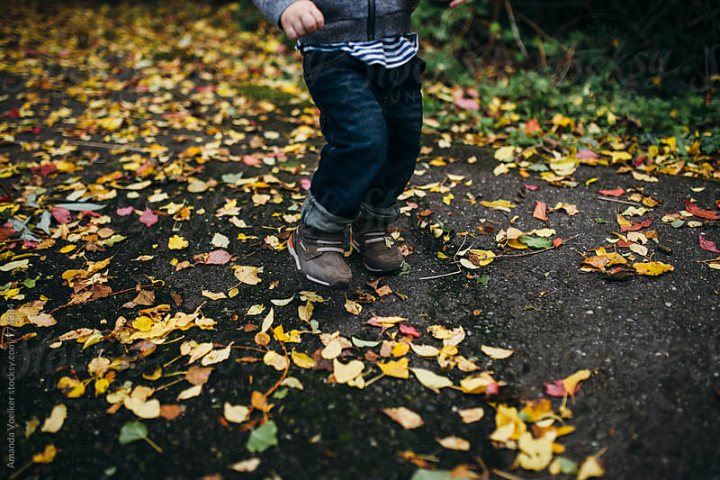 Legs of a toddler boy walking on the ground covered with leaves by Amanda Voelker for Stocksy United