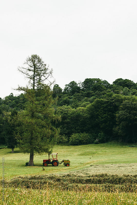 Tractor in a field by michela ravasio for Stocksy United