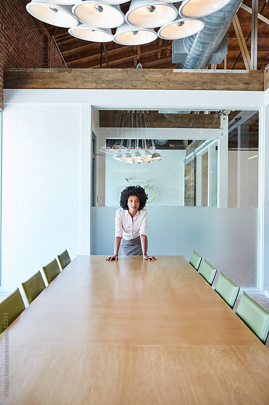 Portrait of African American Businesswoman in Boardroom by Trinette Reed for Stocksy United