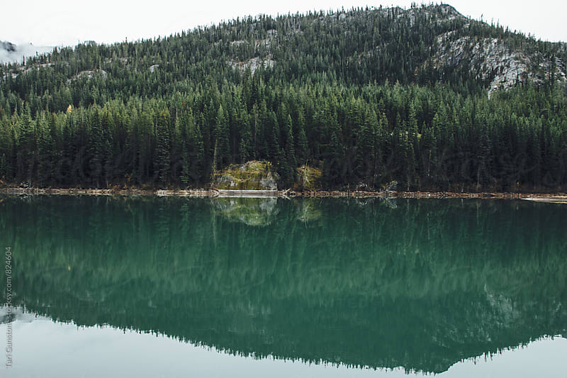 Reflection on teal lake by Tari Gunstone for Stocksy United
